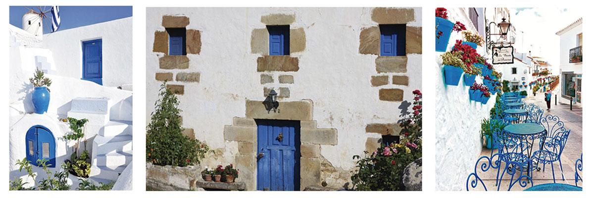 Color blue classic en puertas, ventanas y otros elementos de exterior combinados con fachadas blancas