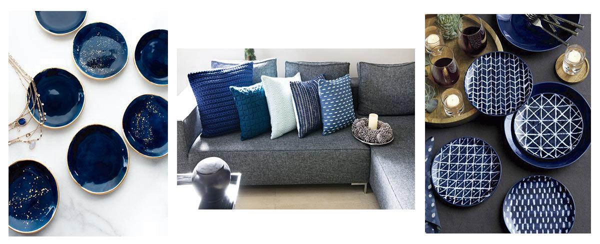 Diferentes complementos de decoración, vajilla, textil en azul clásico