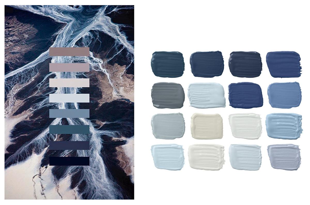 Paletas de colores con la gama de amigos del color blue classic