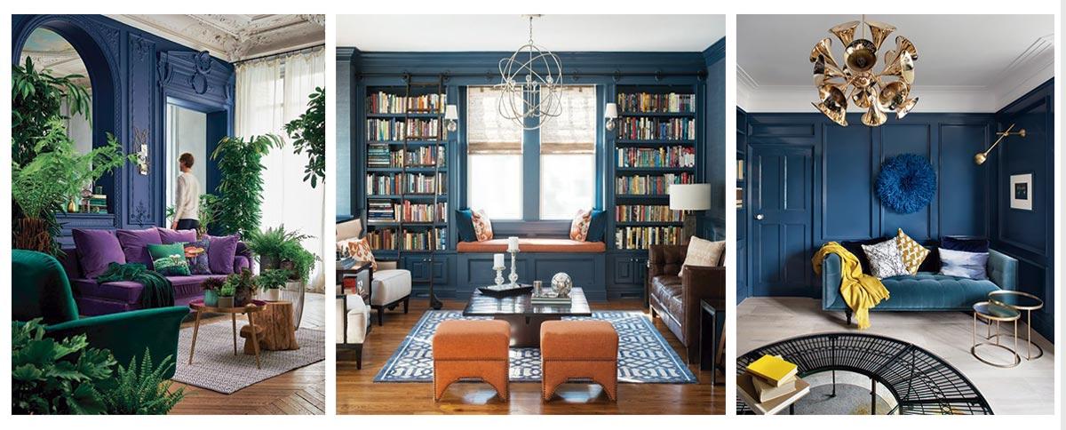 salones con detalles azul clásico en paredes revestidas en madera
