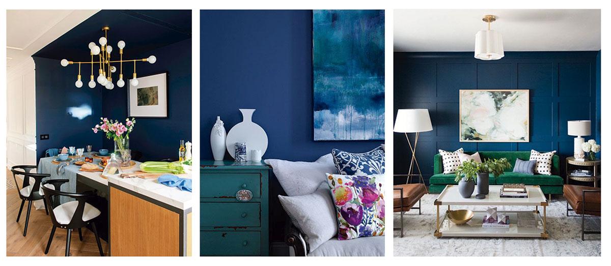 Imagenes de tres propuestas de azul integrado en salón o sala de estar en paredes