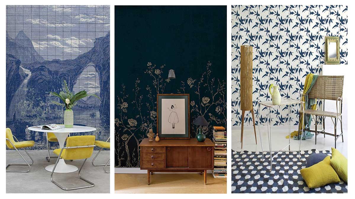 Tres propuestas de papel pintado Coordonné en el tono azul tendencia pantone 2020