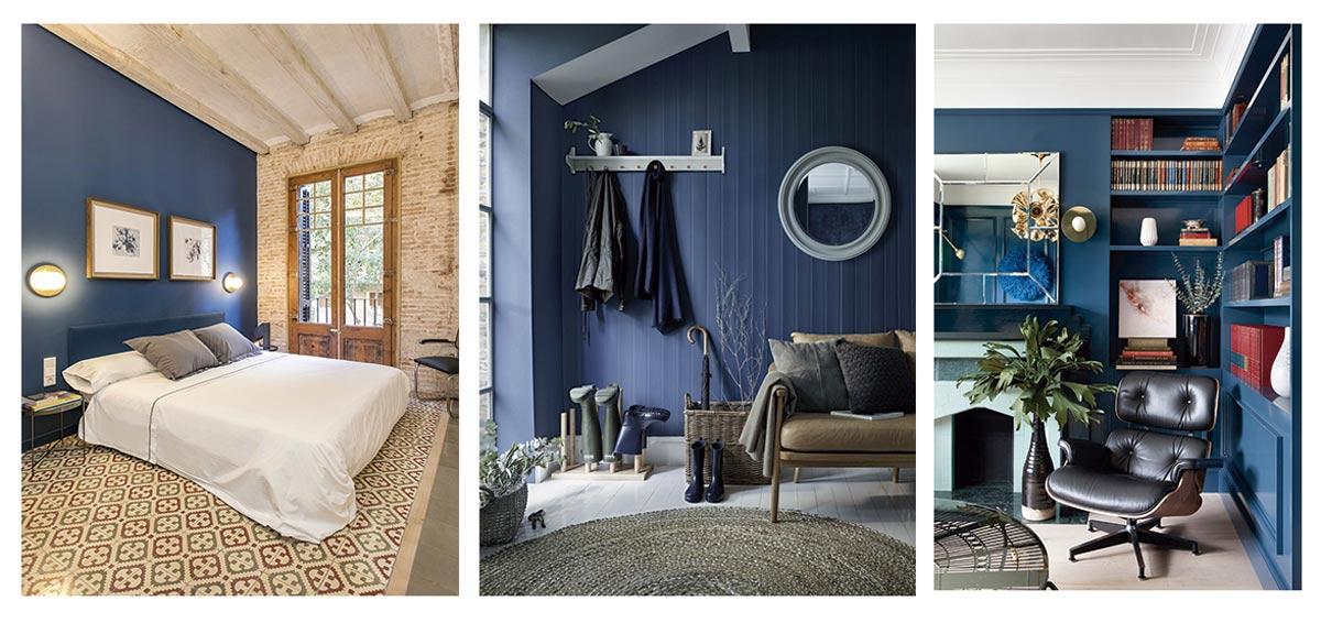 Azul clásico en dormitorio, recibidor y biblioteca