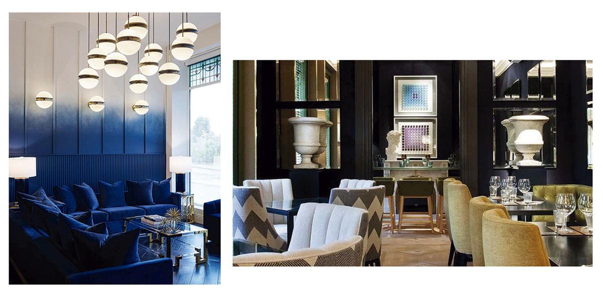 Propuestas de integración del azul clásico para hostelería e instalación comercial