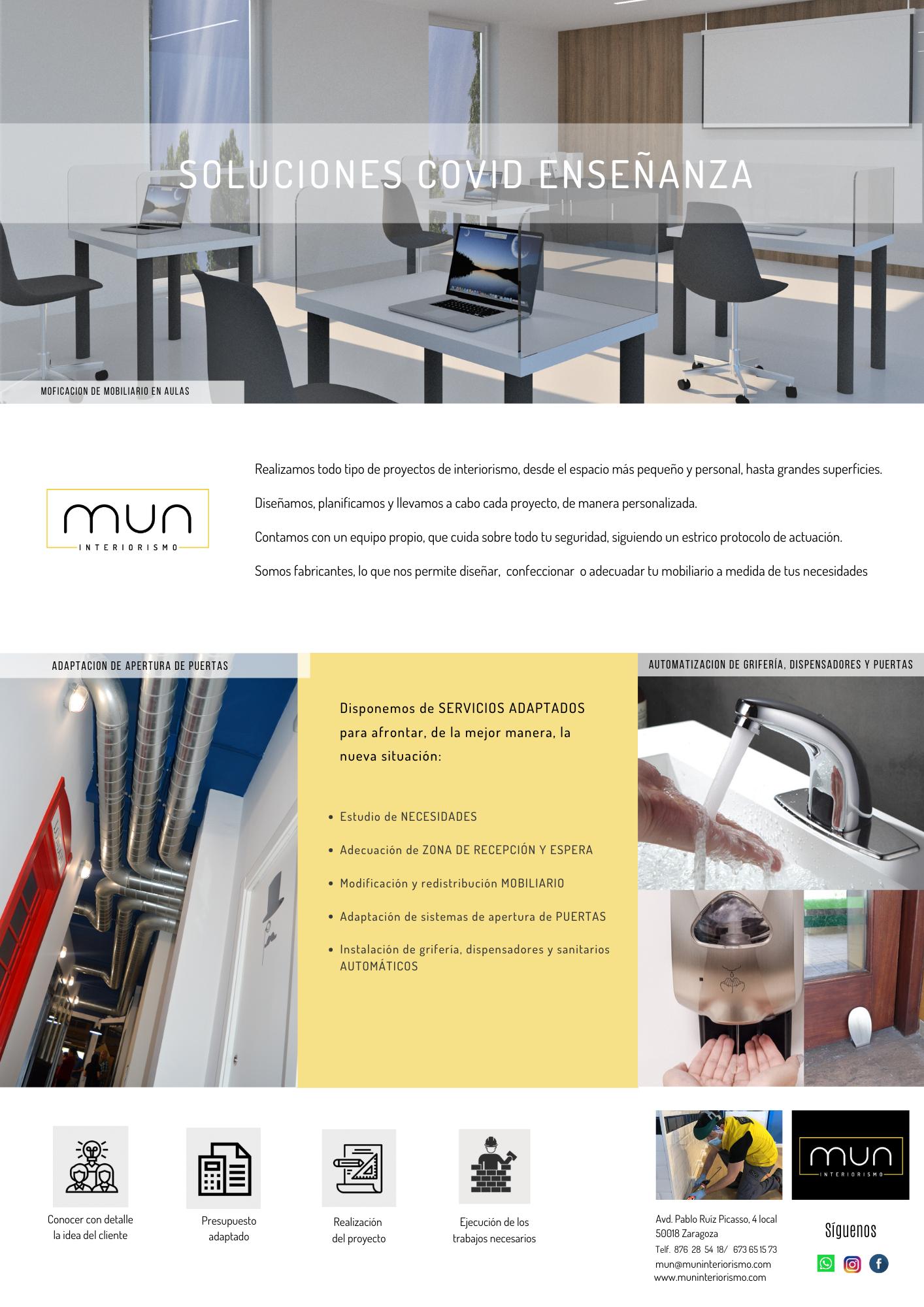 Opciones MUN para adaptar centros de enseñanza al COVID19