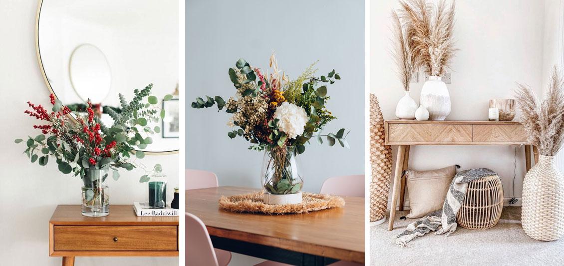 Ejemplos de distribución de jarrones florales