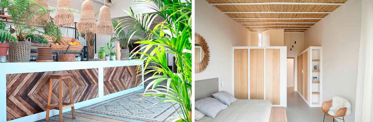 Ejemplos de fibras naturales en revestimientos y elementos decorativos