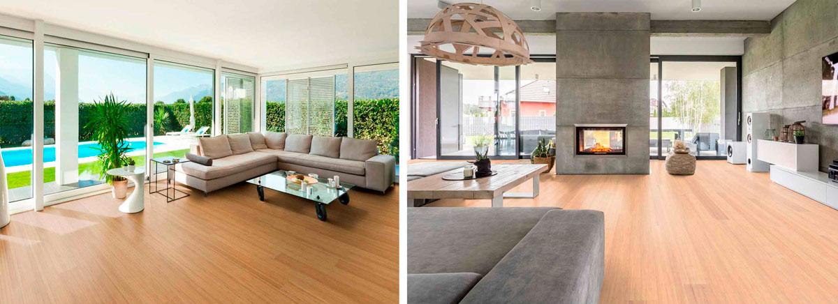 Ejemplos de bambú en revestimientos y pavimentos