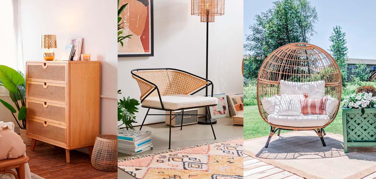 Ejemplos de mobiliario, cómoda, sillón de lectura y sillón exteriores