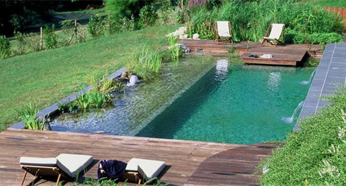 Ejemplos de piscinas naturales con aspecto de piscina convencional