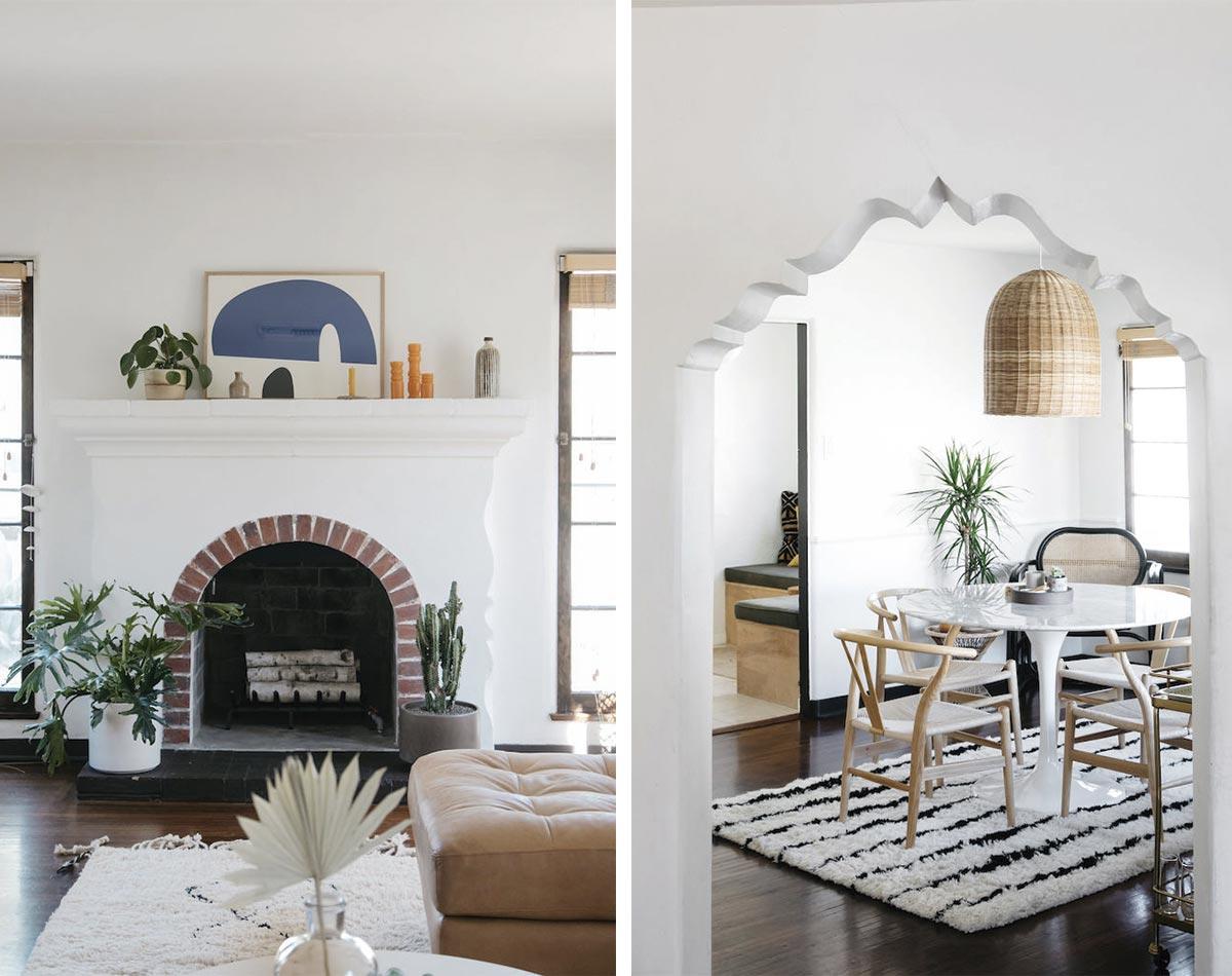 Zonas de salón concepto abierto, utilizando colores luminosos para potenciar la sensación de amplitud