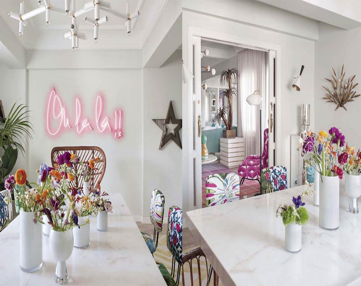 estilo pop, en el que el contraste del blanco luminoso con los colores vivos de inspiración floral son protagonistas