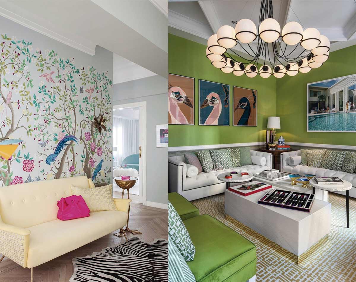 Ejemplos de salones pop en los que se incluyen papeles pintados y pinturas en colores vivos en los revestimientos