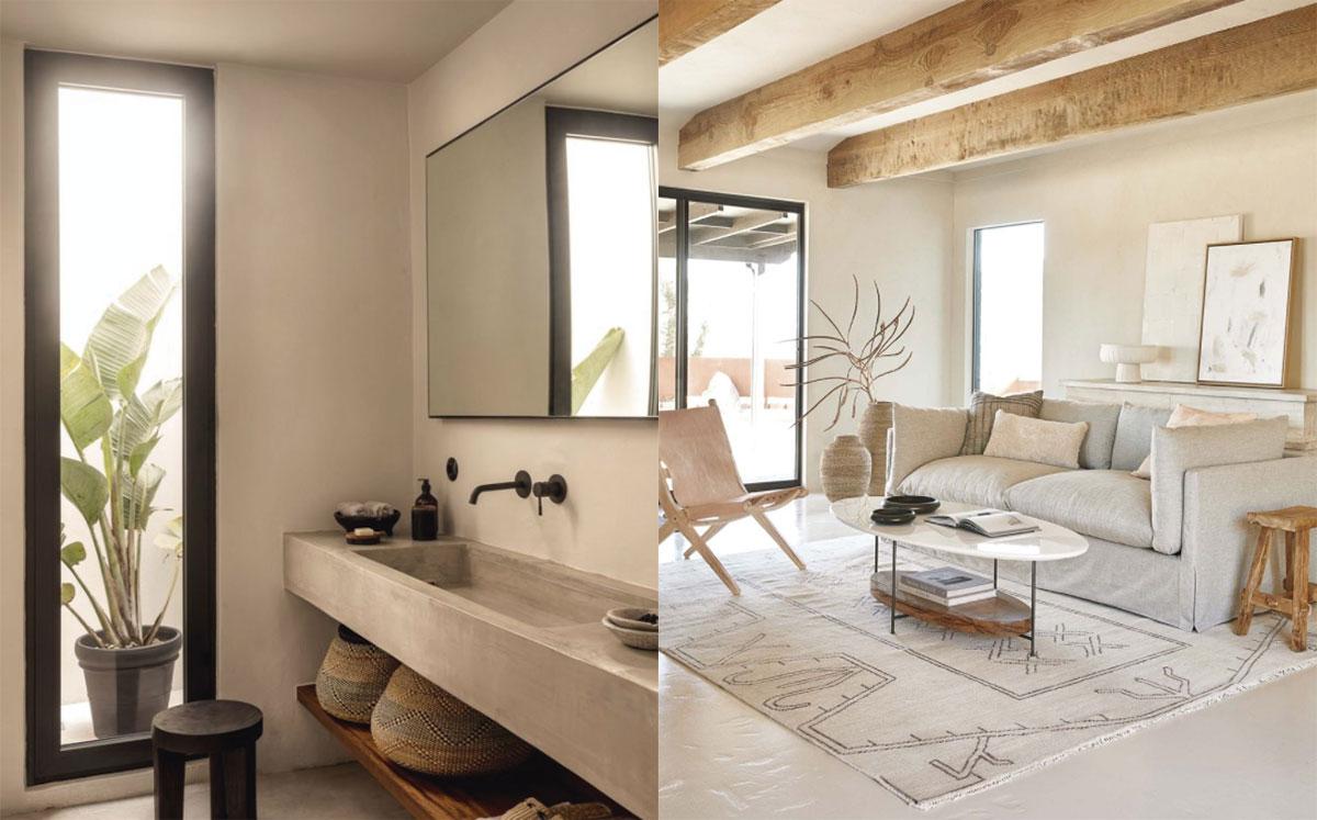 Color arena y materiales naturales como la cerámica, la madera, rafia para espacios mediterráneos en baño y salón