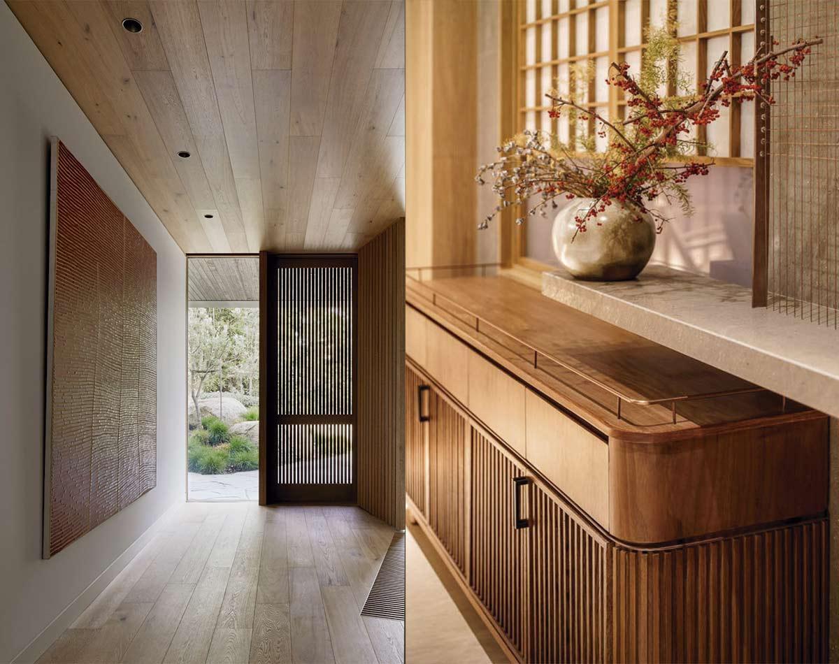 Maderas exóticas en pared, suelo y mobiliario, líneas sencillas y espacios despejados