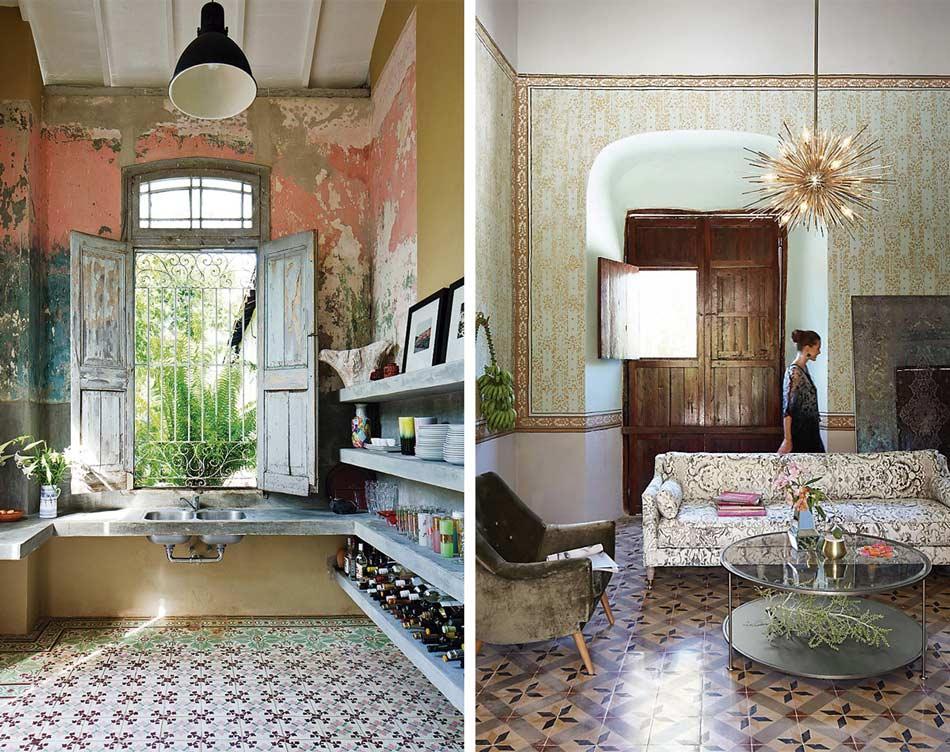 Combinación de elementeos decorativos en cocina y salón