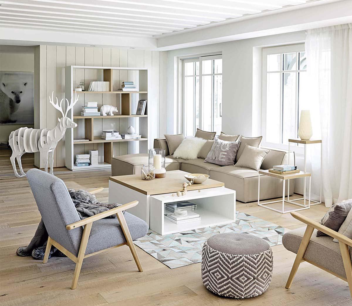 Ejemplo de sala de estar con estilo nórdico con predominio de blancos, crudos y grises