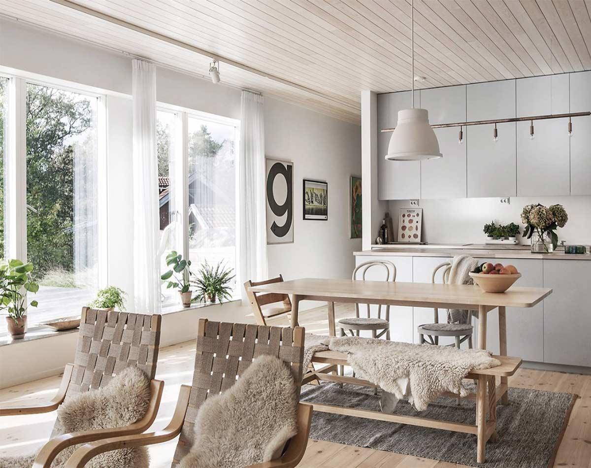Ejemplo salón cocina estilo nórdico, espacio abierto de líneas sencillas y decoración minimalistacoración mil
