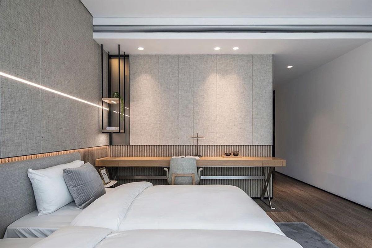 Ejemplo de dormitorio de inspiración Japandi
