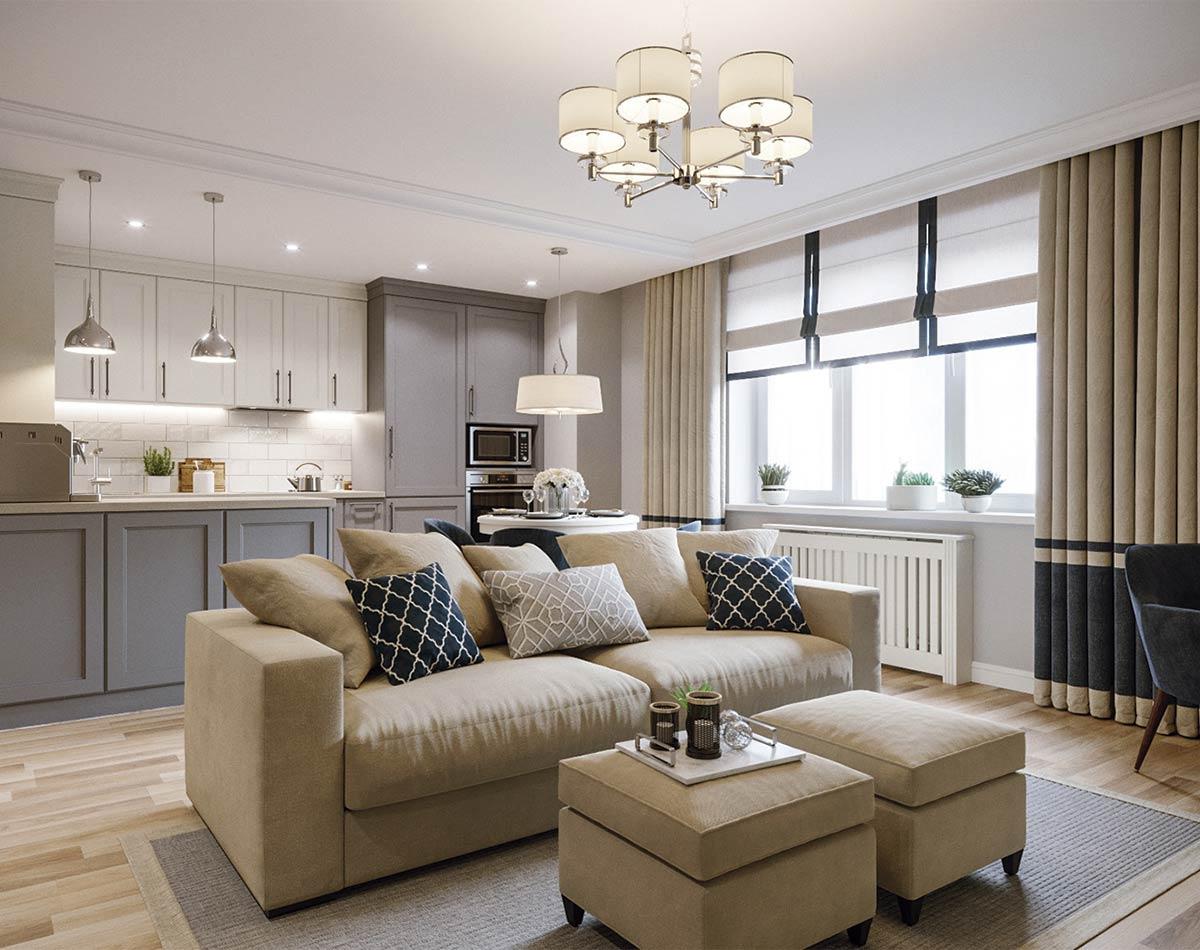Ejemplo cocina- salón estilo clásico renovado en el que se mantiene la esencia de lo clásico, transformada a través del color y la simplificación