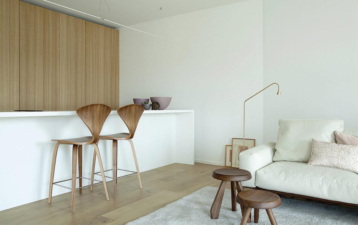 Ejemplo de salón Japandi con decoración minimalista y uso de materiales de inspiración orgánica