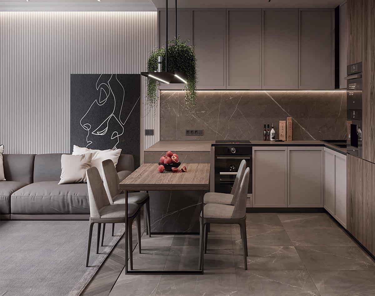 Cocina de diseño con materiales y acabados especiales para los que la iluminación cobra un protagonismo fundamental