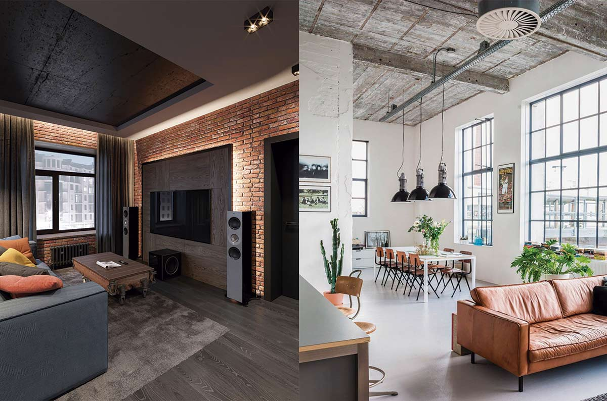 Ejemplos de concepto industrial, con techos altos y espacios abiertos