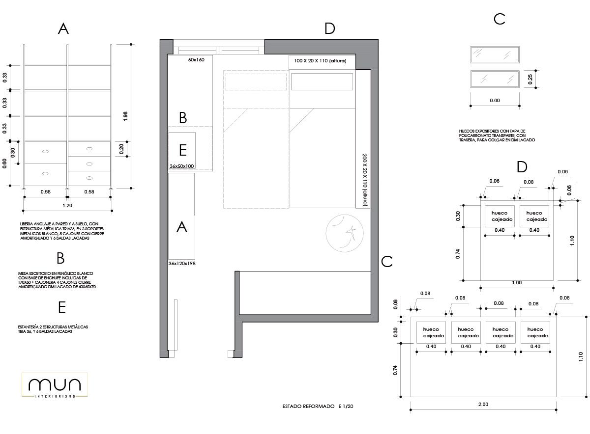 Propuesta de distribución y fabricación de mobiliario a medida