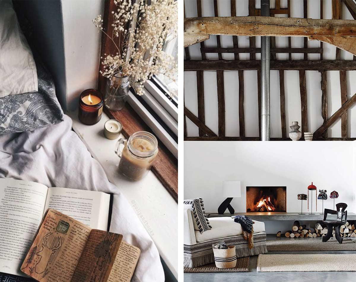 Ejemplos de elementos hygee, velas, chimenea, espacios amplios y espaciosos, iluminación natural o indirecta...