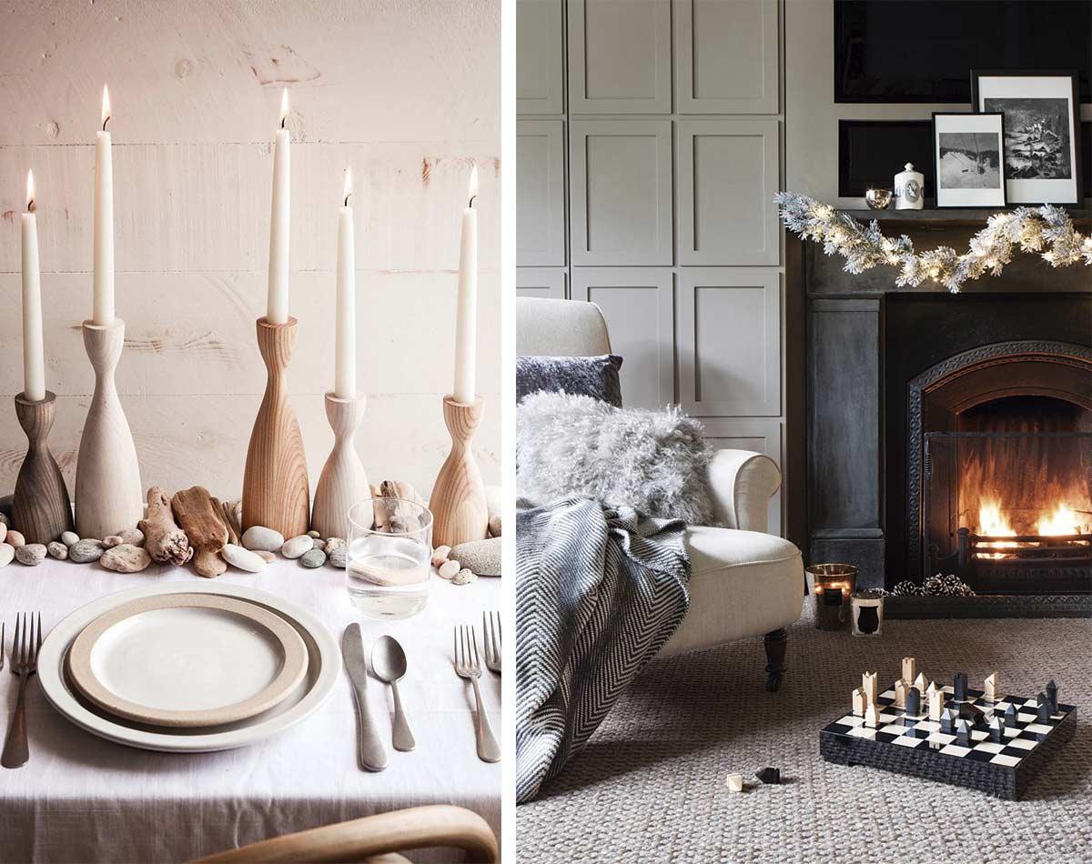 ejemplos de iluminación hygee con velas y chimenea, alfombras, mantas y cojines suaves y calentitos