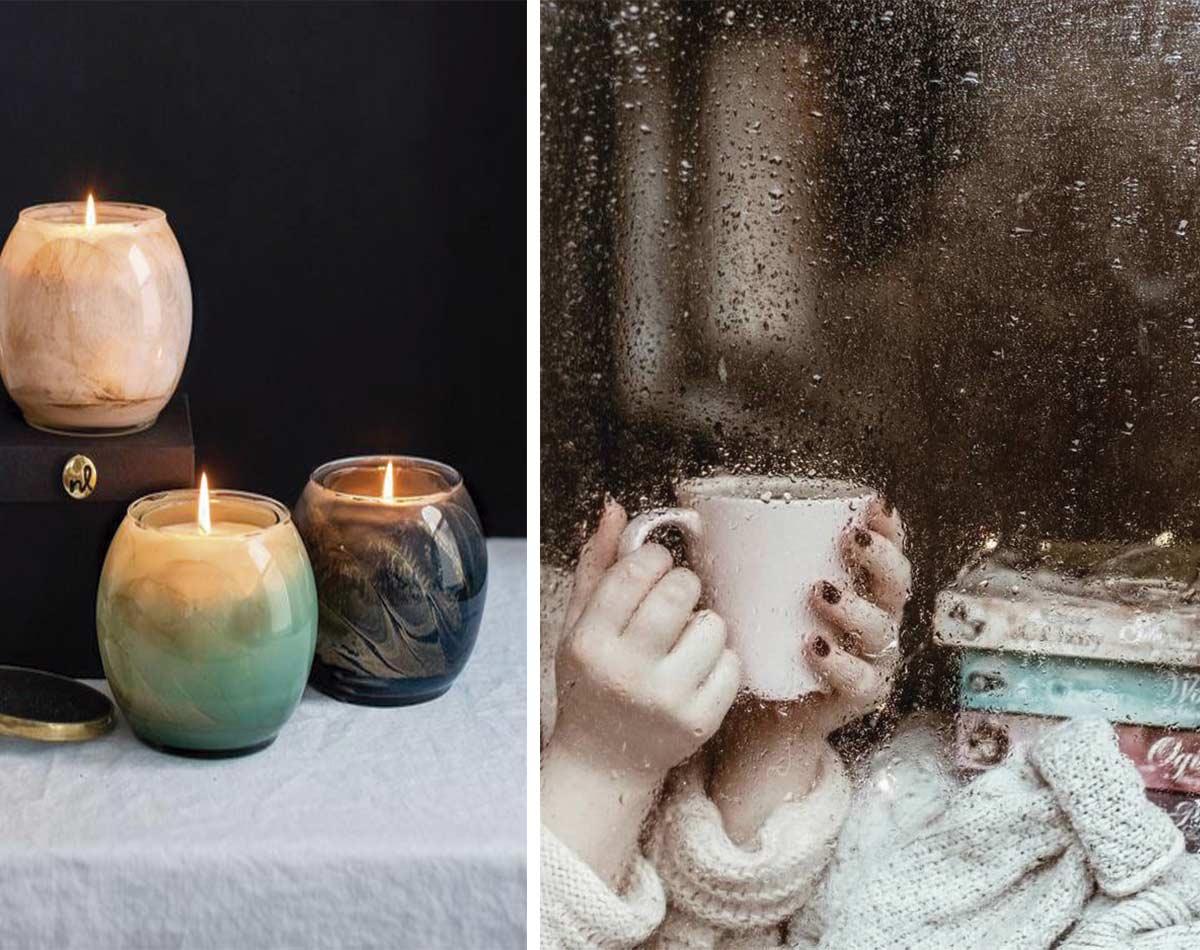 La luz de las velas o una taza de bebida calentita a cubierto en una tarde lluviosa