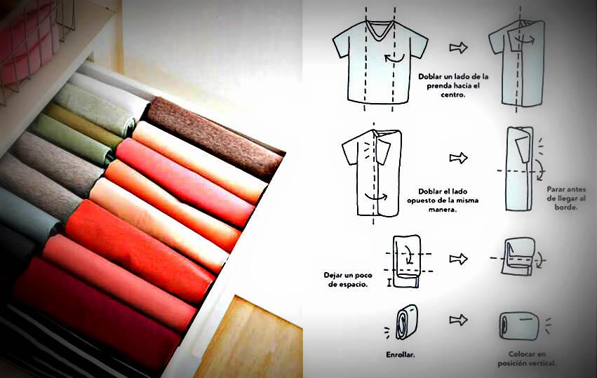 metodo para doblar y colocar prendas en cajones