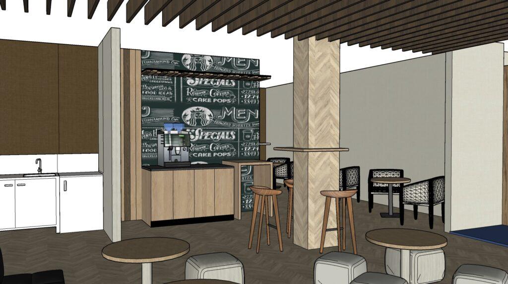 Propuesta de reforma y decoración de area de descanso, Zona Starbucks