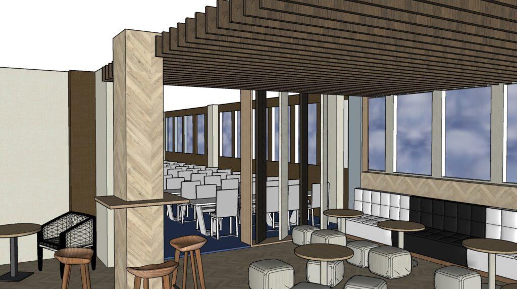 Propuesta de reforma y decoración de area de descanso, comedor y starbucks. Mesas