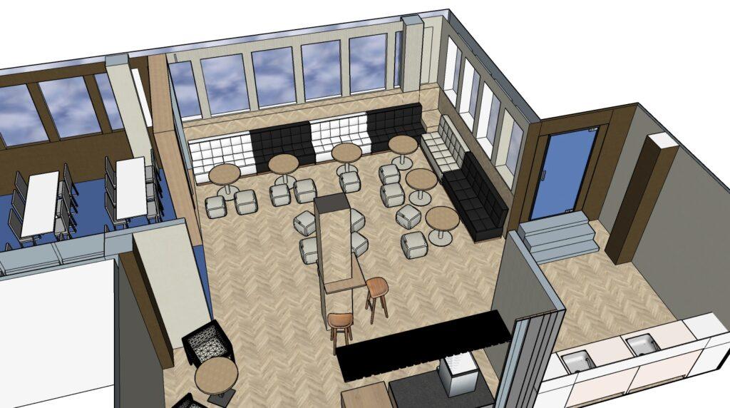 Propuesta de reforma y decoración de area de descanso, comedor y starbucks Vista 3D