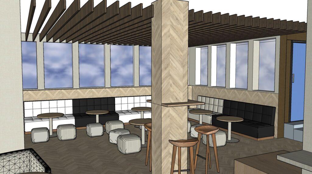Propuesta de reforma y decoración de area de descanso, Zona Starbucks mesas