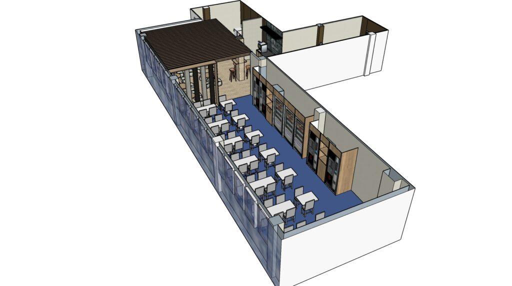 Propuesta area de descanso selecta El Trovador Zaragoza. Vista 3D