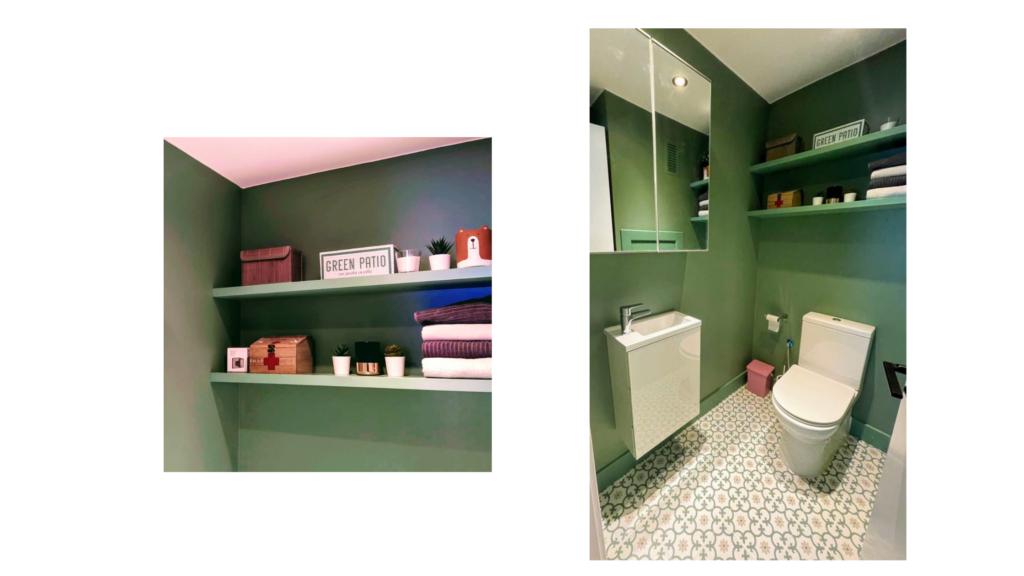 baño reformado con revestimiento de pintura en paredes