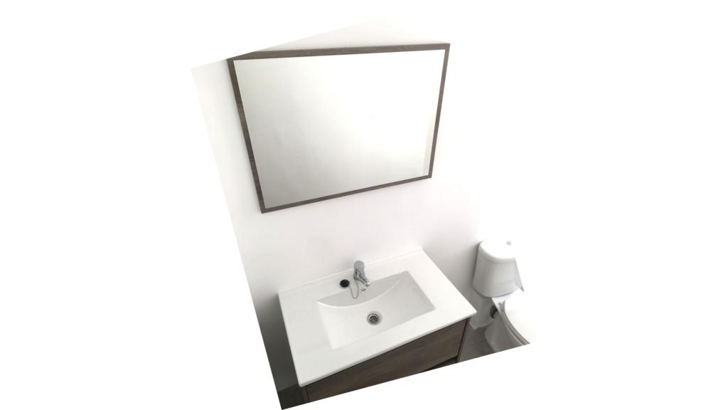 reforma baños pequeños. Aseo MUN con mueble de lavabo a la medida e inodoro