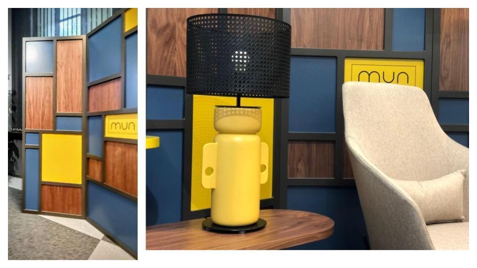 Geometría y color en cuarterones del los biombos y mesas interiorismo para empresas con la cámara de comercio de zaragoza