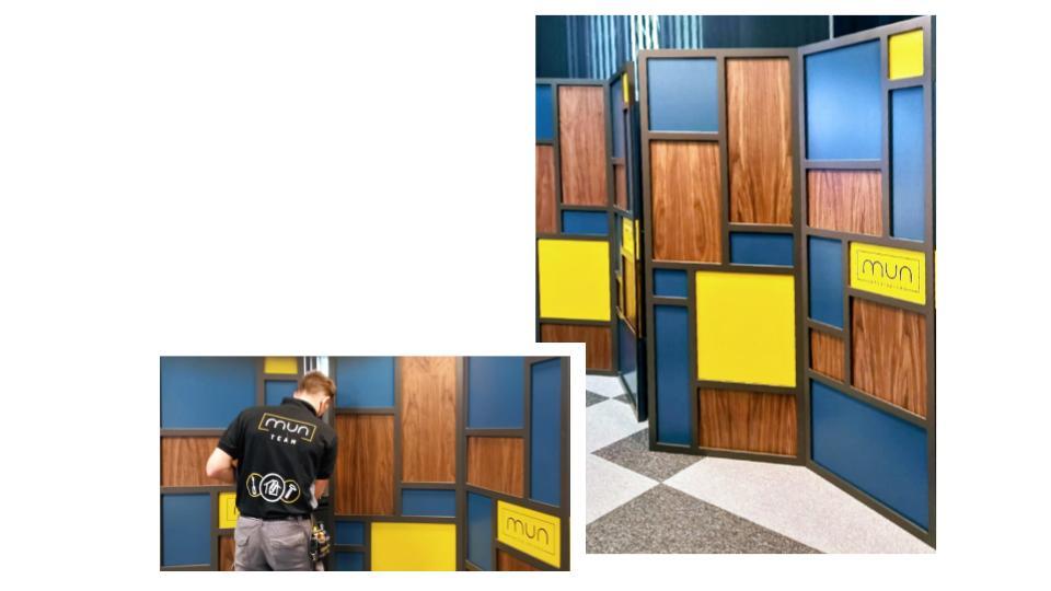 Módulos del biombo plegable interiorismo para empresas con la cámara de comercio de zaragoza